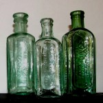 Old linseed linctus and balsam bottles