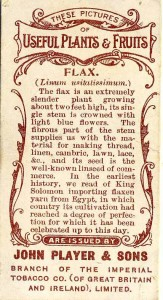 Flax. Back of Players cigarette card